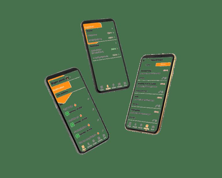 3 telefoons MyBMS app transparant