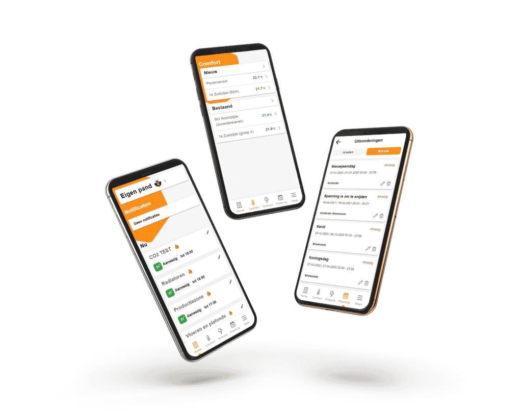 3 telefoons MyBMS app